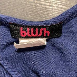 Blush Tops - Navy Blue Long Razor Back Tank Top w White Lace